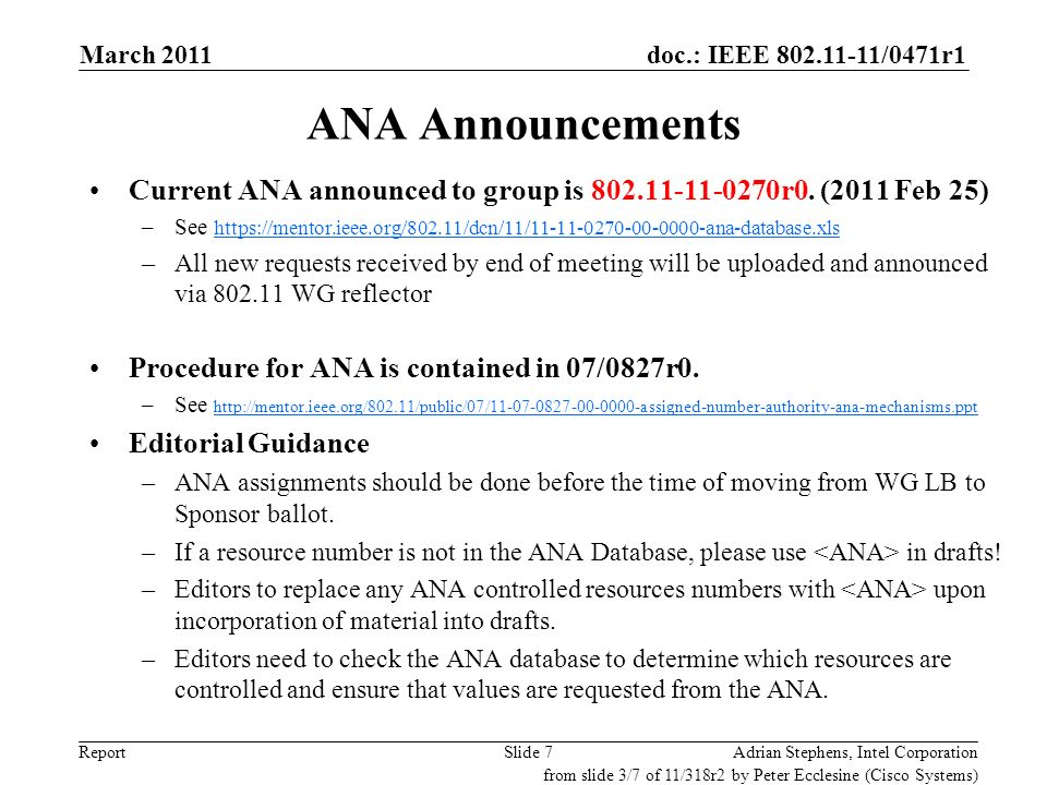 doc.: IEEE 802.11-11/0471r1 ReportSlide 7 ANA Announcements Current ANA announced to group is 802.11-11-0270r0. (2011 Feb 25) –See https://mentor.ieee