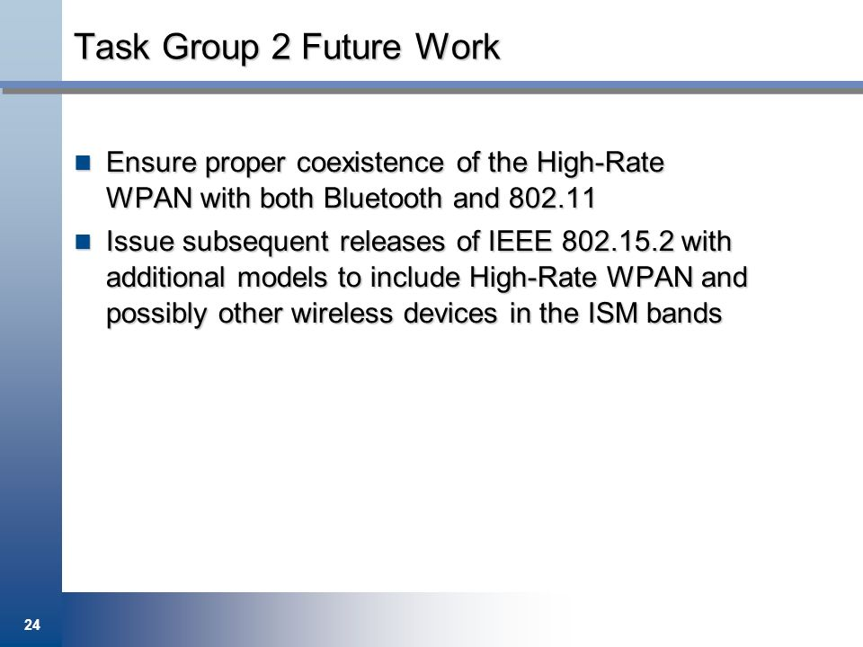 24 Task Group 2 Future Work Ensure proper coexistence of the High-Rate WPAN with both Bluetooth and 802.11 Ensure proper coexistence of the High-Rate