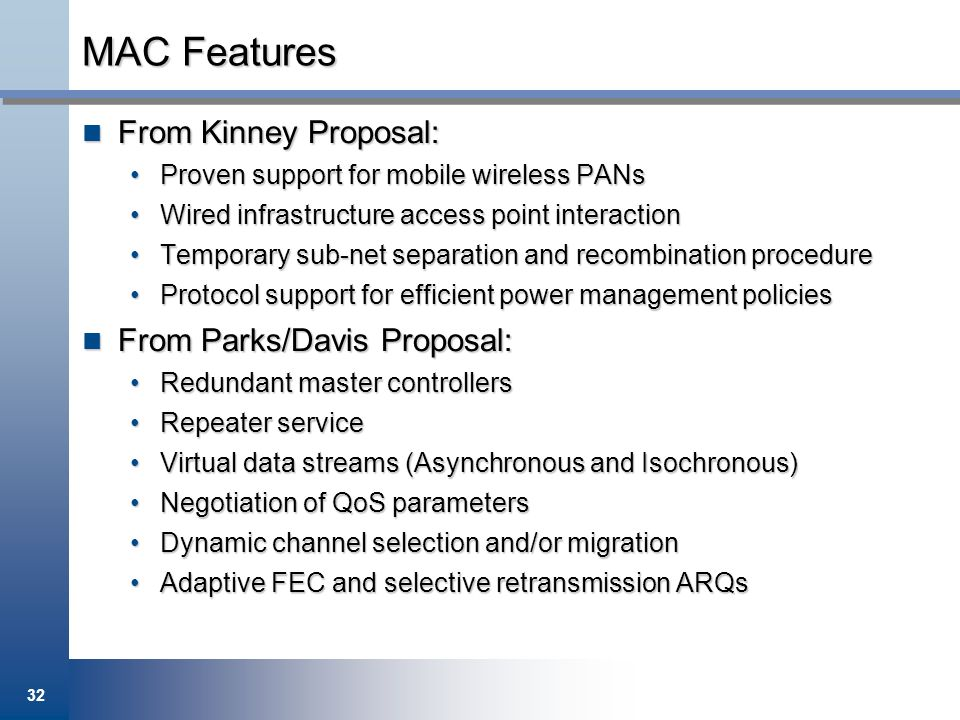 32 MAC Features From Kinney Proposal: From Kinney Proposal: Proven support for mobile wireless PANsProven support for mobile wireless PANs Wired infra