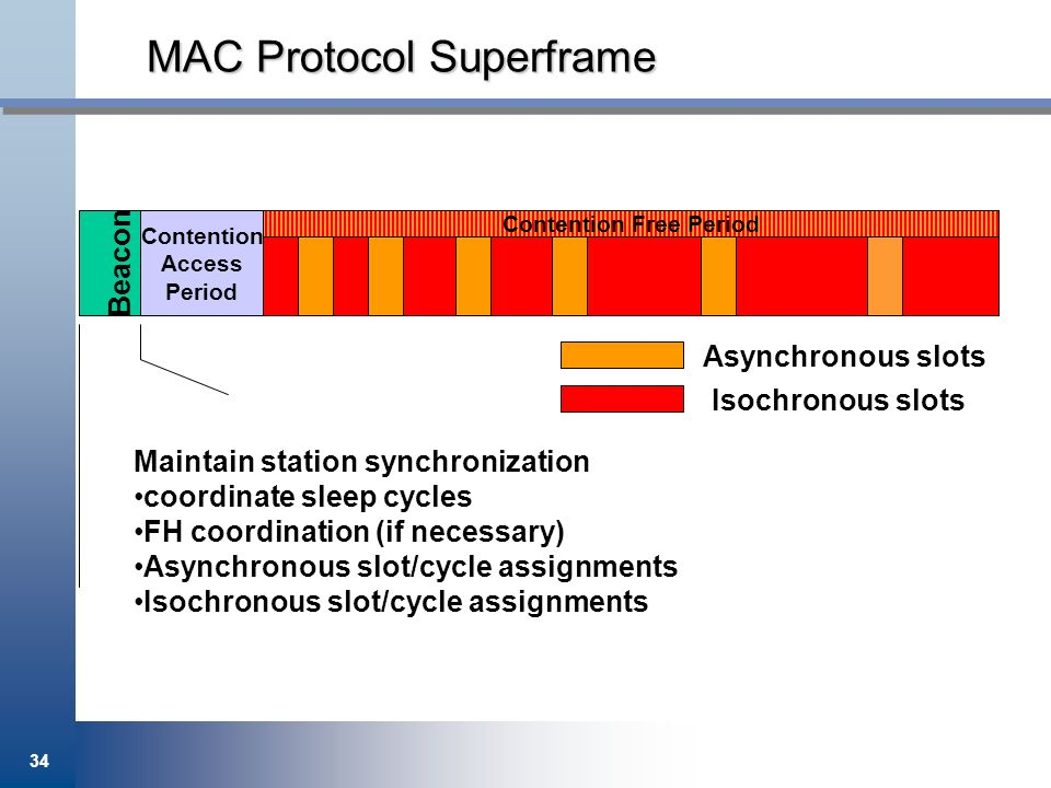34 MAC Protocol Superframe Maintain station synchronization coordinate sleep cycles FH coordination (if necessary) Asynchronous slot/cycle assignments