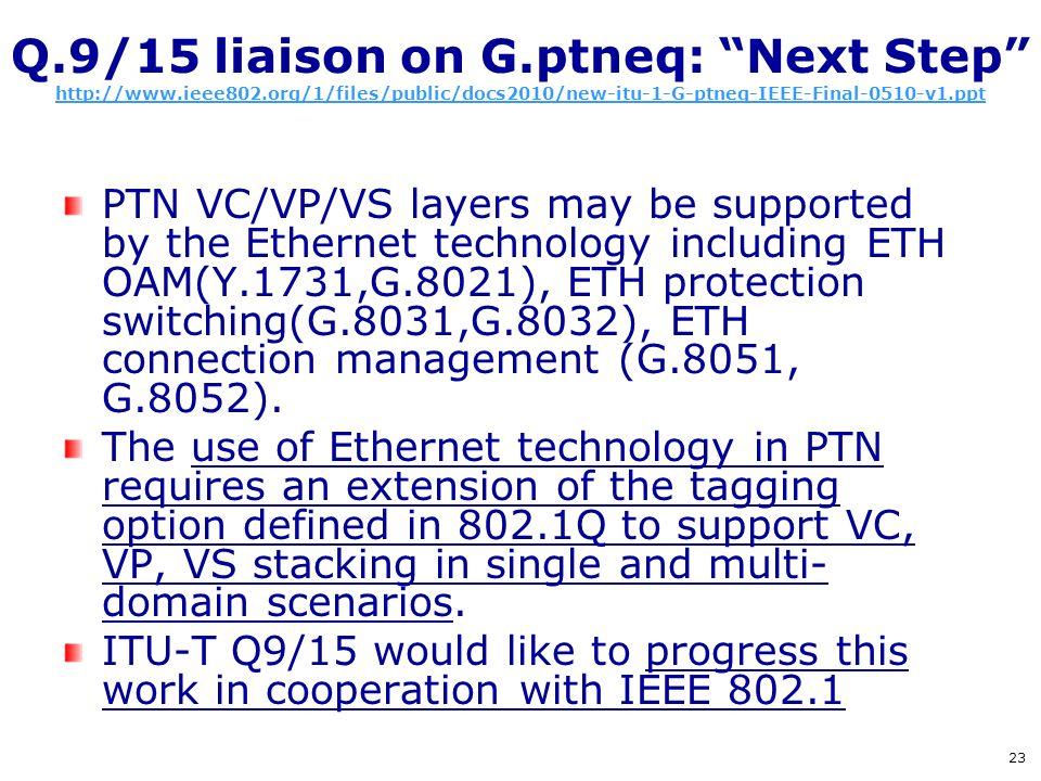 Q.9/15 liaison on G.ptneq: Next Step http://www.ieee802.org/1/files/public/docs2010/new-itu-1-G-ptneq-IEEE-Final-0510-v1.ppt http://www.ieee802.org/1/