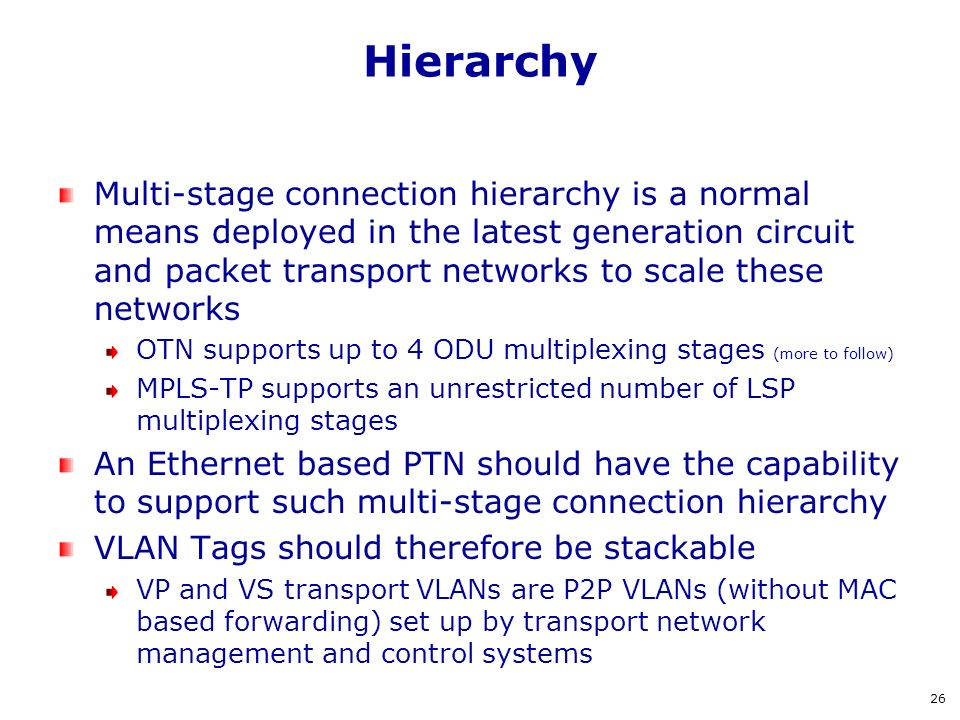Hierarchy Multi-stage connection hierarchy is a normal means deployed in the latest generation circuit and packet transport networks to scale these ne