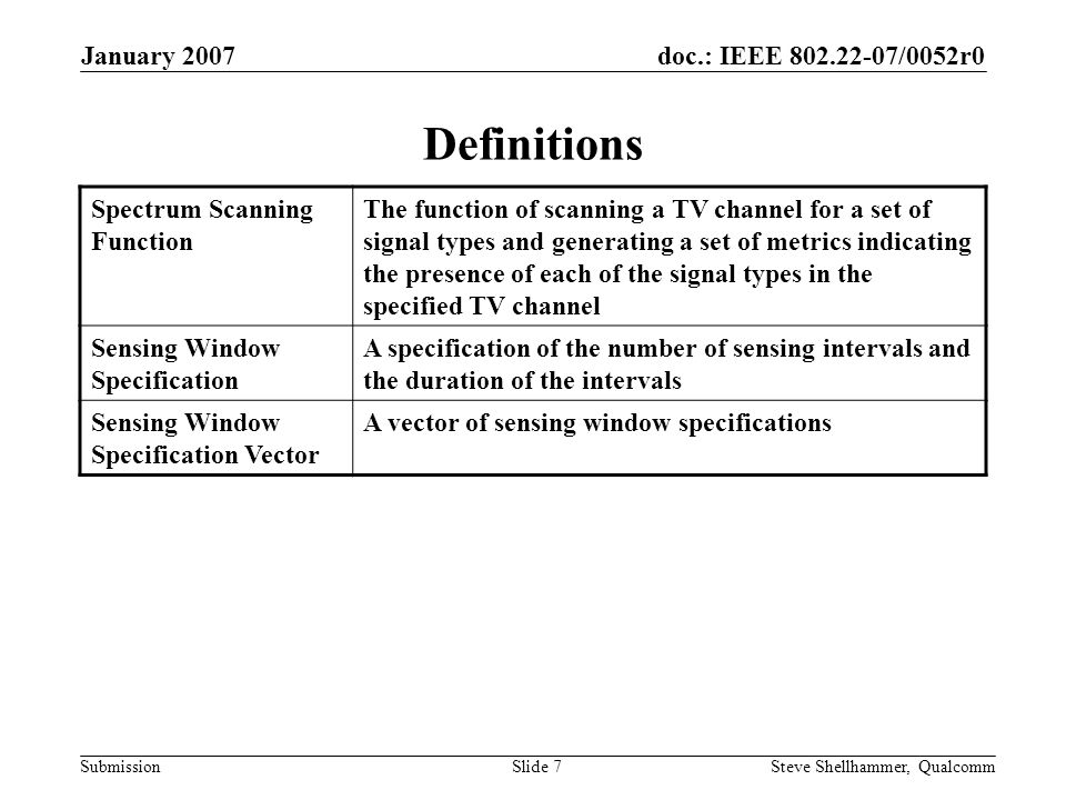 doc.: IEEE 802.22-07/0052r0 Submission January 2007 Steve Shellhammer, QualcommSlide 7 Definitions Spectrum Scanning Function The function of scanning a TV channel for a set of signal types and generating a set of metrics indicating the presence of each of the signal types in the specified TV channel Sensing Window Specification A specification of the number of sensing intervals and the duration of the intervals Sensing Window Specification Vector A vector of sensing window specifications