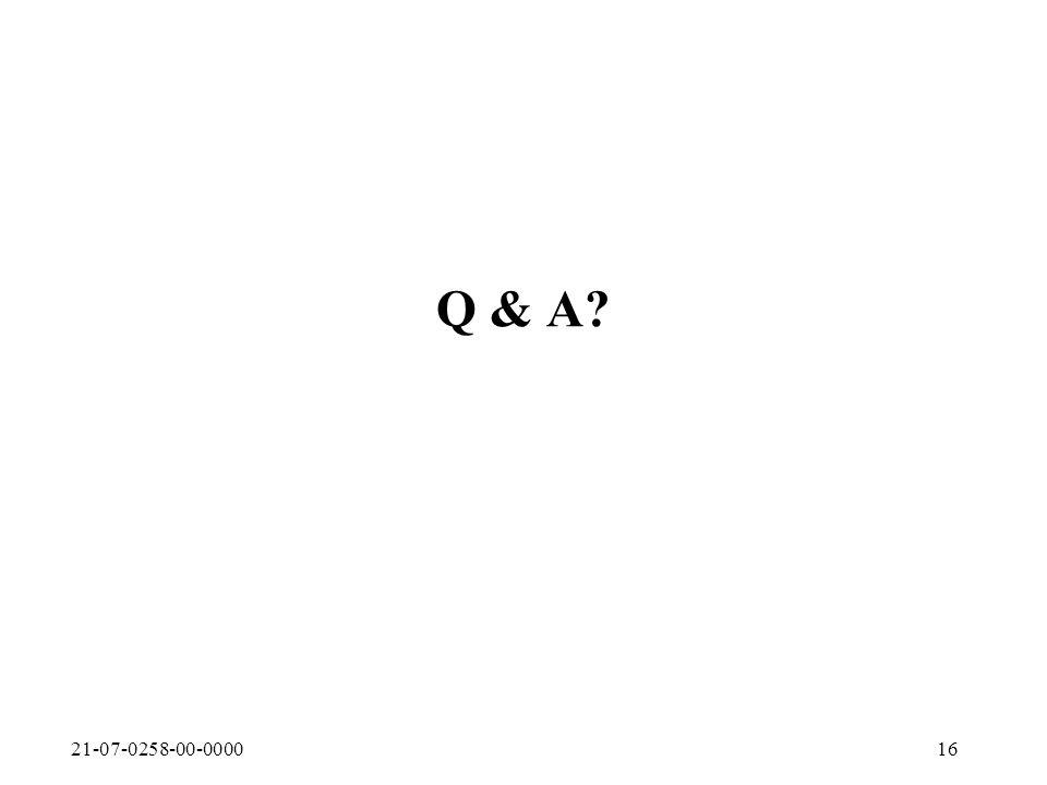 21-07-0258-00-000016 Q & A
