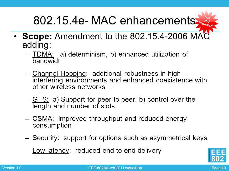 Page 10Version 1.0 IEEE 802 March 2011 workshop EEE 802 802.15.4e- MAC enhancements Scope: Amendment to the 802.15.4-2006 MAC adding: –TDMA: a) determ