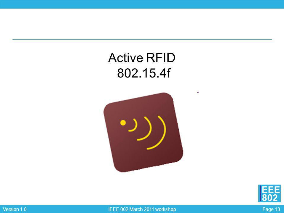 Page 13Version 1.0 IEEE 802 March 2011 workshop EEE 802 Active RFID 802.15.4f