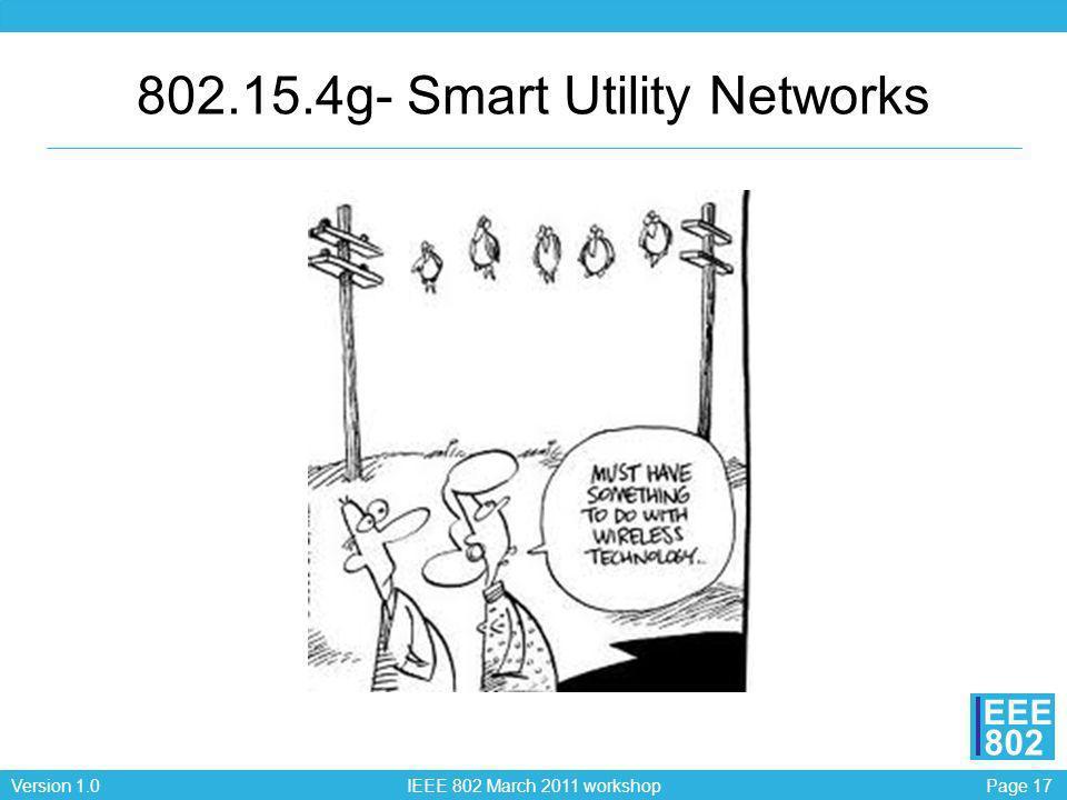 Page 17Version 1.0 IEEE 802 March 2011 workshop EEE 802 802.15.4g- Smart Utility Networks