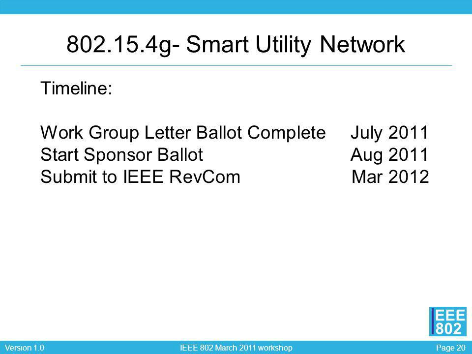 Page 20Version 1.0 IEEE 802 March 2011 workshop EEE 802 Timeline: Work Group Letter Ballot CompleteJuly 2011 Start Sponsor BallotAug 2011 Submit to IE