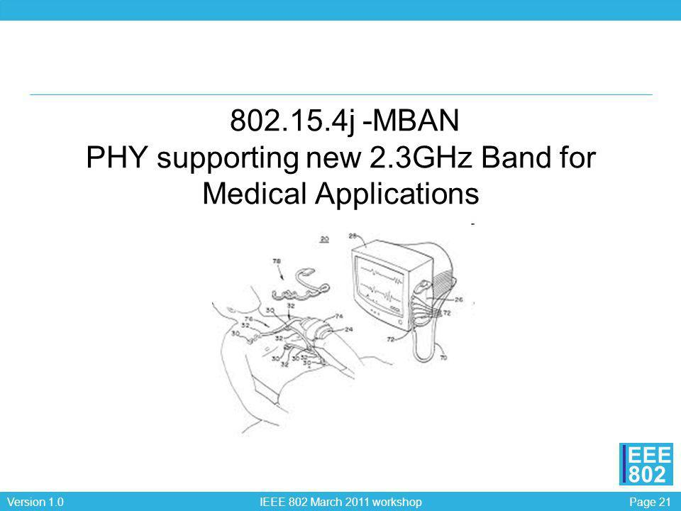 Page 21Version 1.0 IEEE 802 March 2011 workshop EEE 802 802.15.4j -MBAN PHY supporting new 2.3GHz Band for Medical Applications