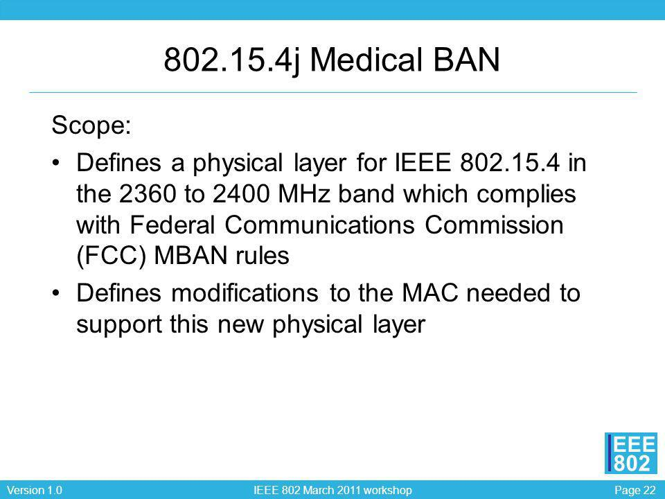 Page 22Version 1.0 IEEE 802 March 2011 workshop EEE 802 802.15.4j Medical BAN Scope: Defines a physical layer for IEEE 802.15.4 in the 2360 to 2400 MH