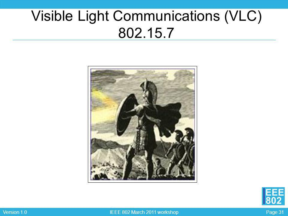 Page 31Version 1.0 IEEE 802 March 2011 workshop EEE 802 Visible Light Communications (VLC) 802.15.7