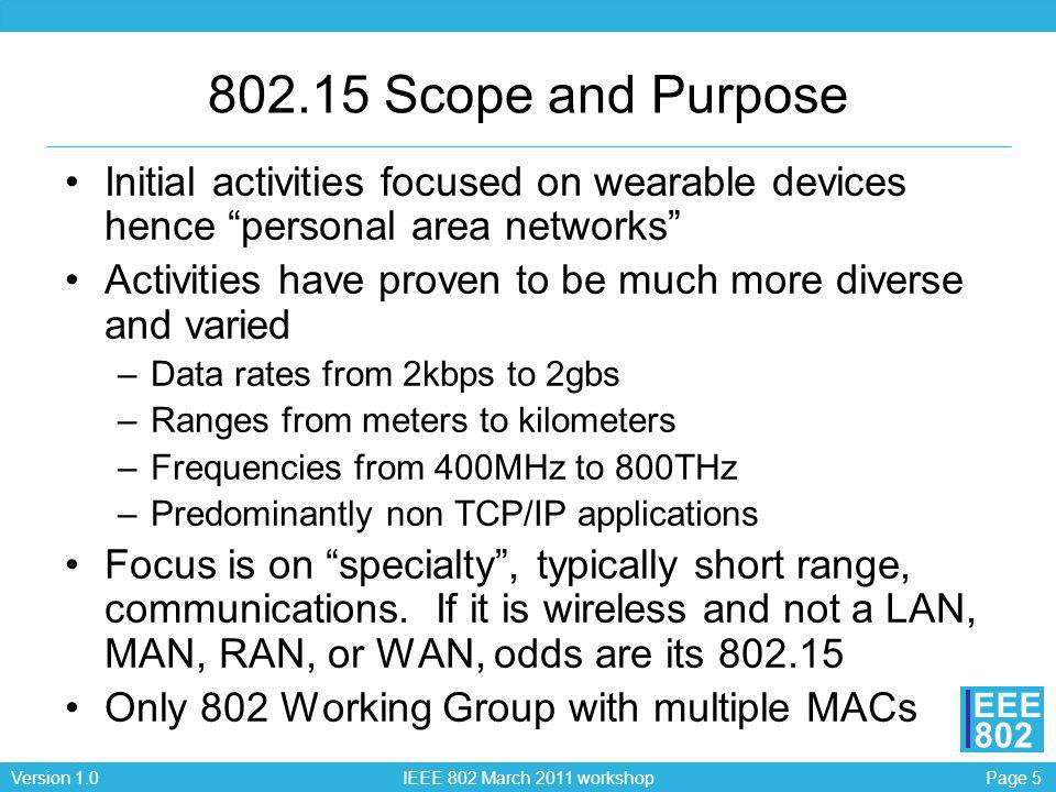 Page 5Version 1.0 IEEE 802 March 2011 workshop EEE 802 802.15 Scope and Purpose Initial activities focused on wearable devices hence personal area net