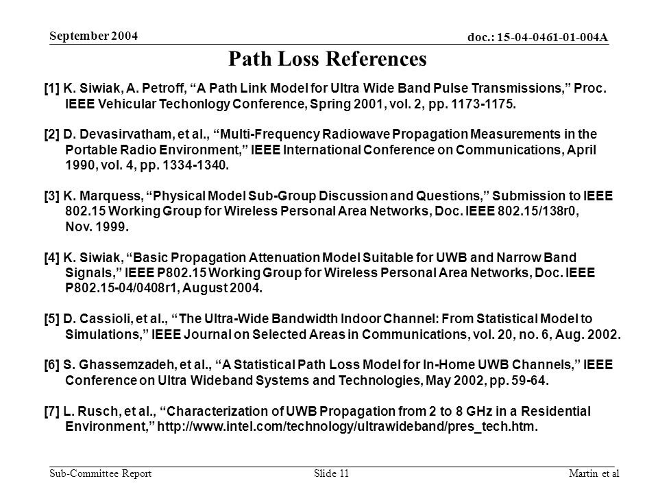 doc.: 15-04-0461-01-004A Sub-Committee Report September 2004 Martin et alSlide 11 Path Loss References [1] K. Siwiak, A. Petroff, A Path Link Model fo