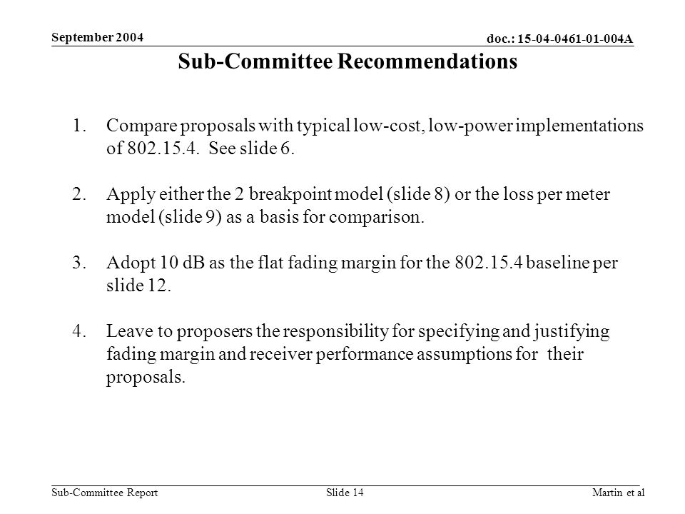 doc.: A Sub-Committee Report September 2004 Martin et alSlide 14 Sub-Committee Recommendations 1.Compare proposals with typical low-cost, low-power implementations of