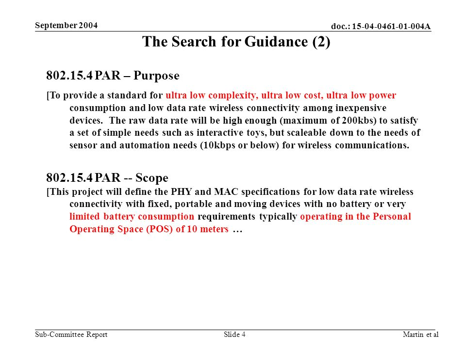 doc.: 15-04-0461-01-004A Sub-Committee Report September 2004 Martin et alSlide 4 The Search for Guidance (2) 802.15.4 PAR – Purpose [To provide a standard for ultra low complexity, ultra low cost, ultra low power consumption and low data rate wireless connectivity among inexpensive devices.