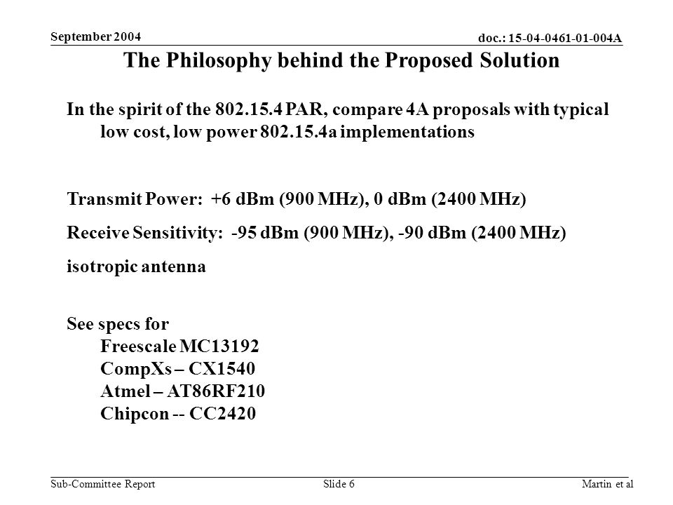 doc.: A Sub-Committee Report September 2004 Martin et alSlide 6 The Philosophy behind the Proposed Solution In the spirit of the PAR, compare 4A proposals with typical low cost, low power a implementations Transmit Power: +6 dBm (900 MHz), 0 dBm (2400 MHz) Receive Sensitivity: -95 dBm (900 MHz), -90 dBm (2400 MHz) isotropic antenna See specs for Freescale MC13192 CompXs – CX1540 Atmel – AT86RF210 Chipcon -- CC2420