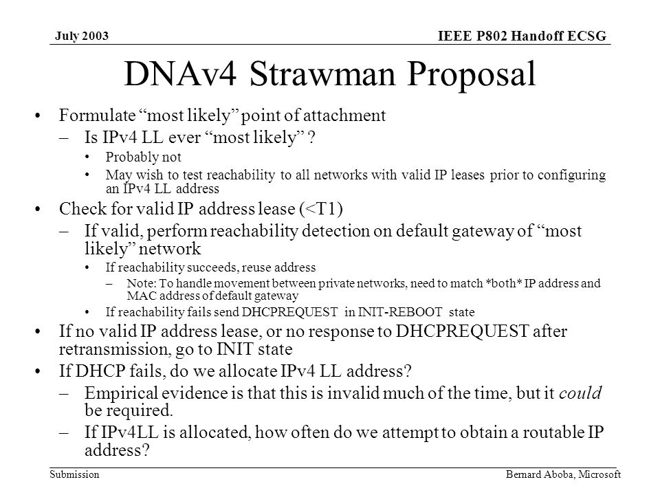 IEEE P802 Handoff ECSG Submission July 2003 Bernard Aboba, Microsoft DNAv4 Strawman Proposal Formulate most likely point of attachment –Is IPv4 LL ever most likely .