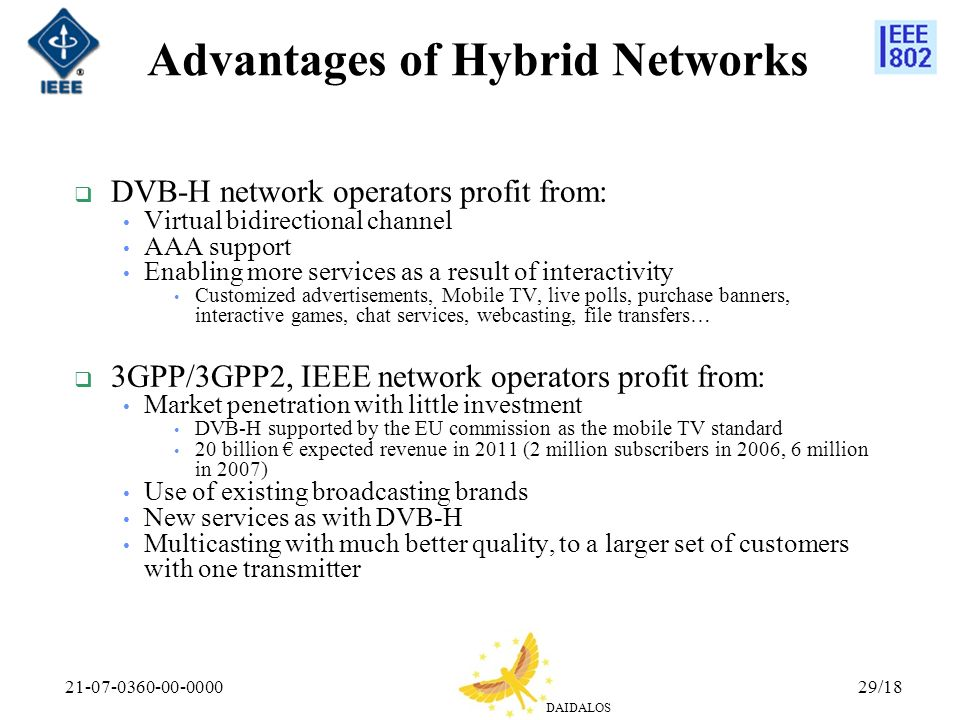 DAIDALOS 21-07-0360-00-000029/18 Advantages of Hybrid Networks DVB-H network operators profit from: Virtual bidirectional channel AAA support Enabling more services as a result of interactivity Customized advertisements, Mobile TV, live polls, purchase banners, interactive games, chat services, webcasting, file transfers… 3GPP/3GPP2, IEEE network operators profit from: Market penetration with little investment DVB-H supported by the EU commission as the mobile TV standard 20 billion expected revenue in 2011 (2 million subscribers in 2006, 6 million in 2007) Use of existing broadcasting brands New services as with DVB-H Multicasting with much better quality, to a larger set of customers with one transmitter