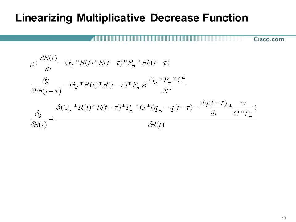 35 Linearizing Multiplicative Decrease Function