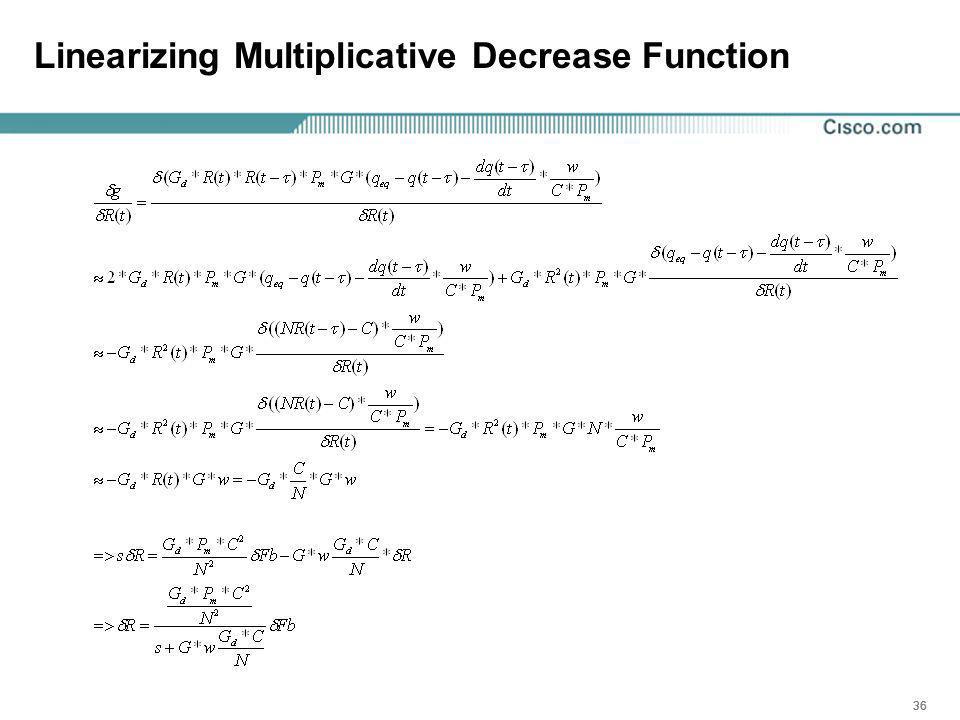 36 Linearizing Multiplicative Decrease Function