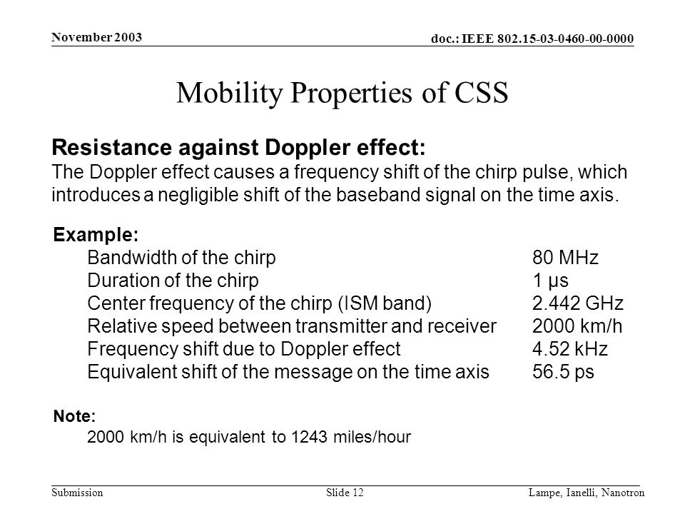 doc.: IEEE 802.15-03-0460-00-0000 Submission November 2003 Lampe, Ianelli, NanotronSlide 12 Mobility Properties of CSS Resistance against Doppler effe