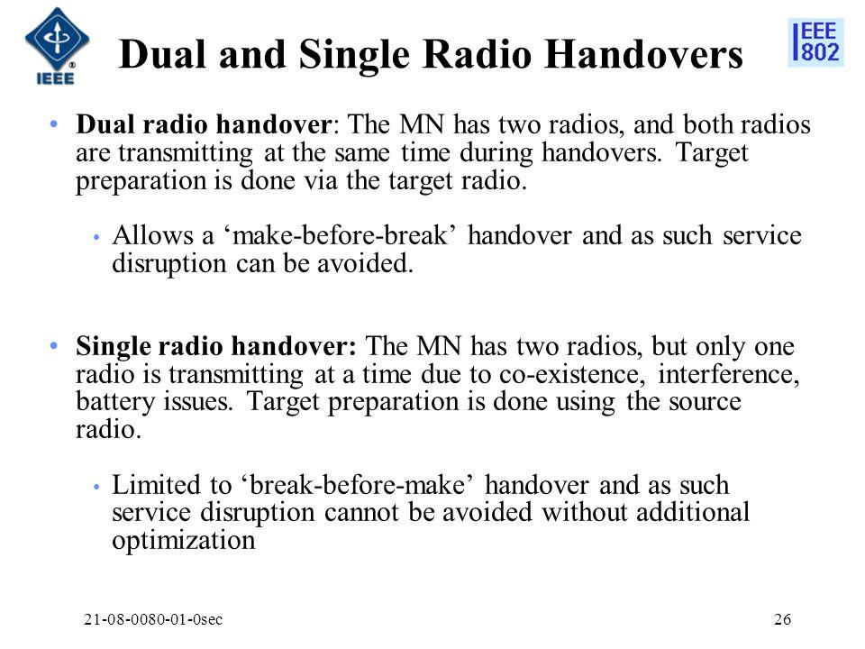 21-08-0080-01-0sec26 Dual and Single Radio Handovers Dual radio handover: The MN has two radios, and both radios are transmitting at the same time dur