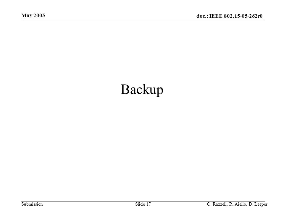 doc.: IEEE 802.15-05-262r0 Submission May 2005 C. Razzell, R. Aiello, D. LeeperSlide 17 Backup