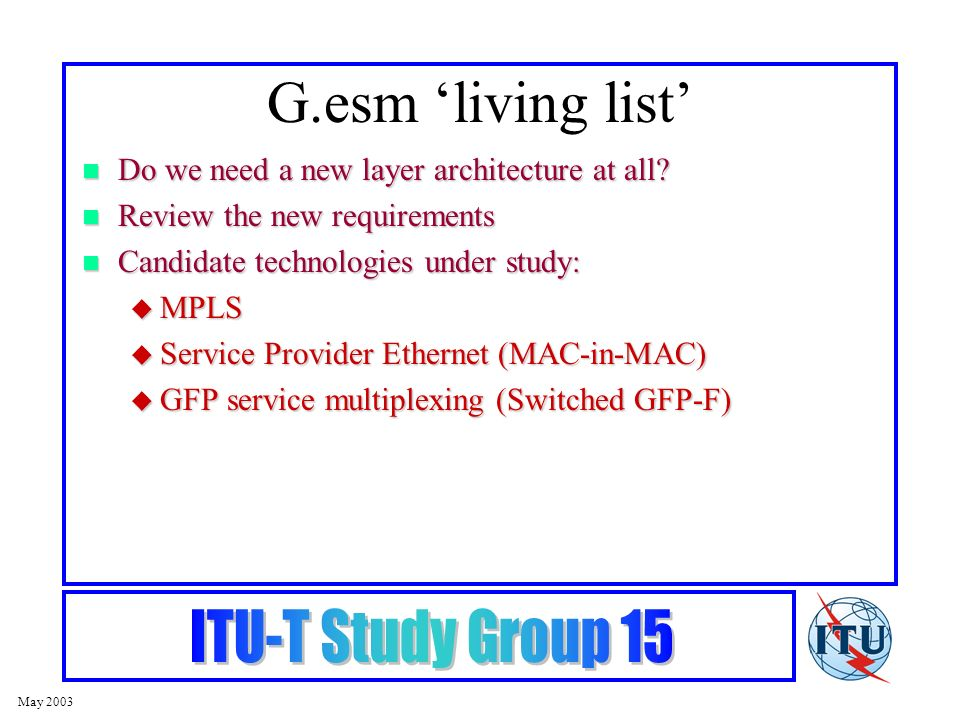 May 2003 G.esm living list Do we need a new layer architecture at all.