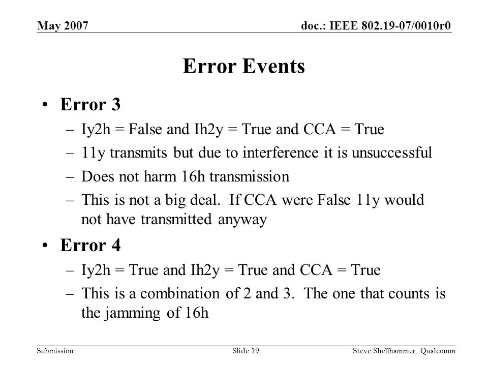 doc.: IEEE 802.19-07/0010r0 Submission May 2007 Steve Shellhammer, QualcommSlide 19 Error Events Error 3 –Iy2h = False and Ih2y = True and CCA = True –11y transmits but due to interference it is unsuccessful –Does not harm 16h transmission –This is not a big deal.