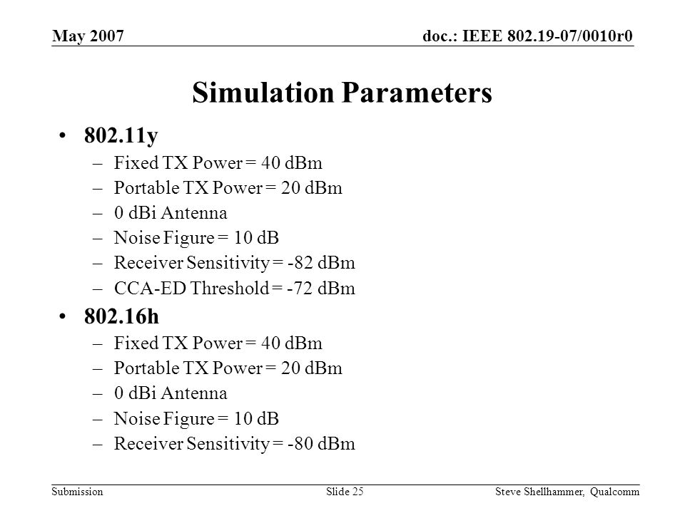 doc.: IEEE 802.19-07/0010r0 Submission May 2007 Steve Shellhammer, QualcommSlide 25 Simulation Parameters 802.11y –Fixed TX Power = 40 dBm –Portable TX Power = 20 dBm –0 dBi Antenna –Noise Figure = 10 dB –Receiver Sensitivity = -82 dBm –CCA-ED Threshold = -72 dBm 802.16h –Fixed TX Power = 40 dBm –Portable TX Power = 20 dBm –0 dBi Antenna –Noise Figure = 10 dB –Receiver Sensitivity = -80 dBm