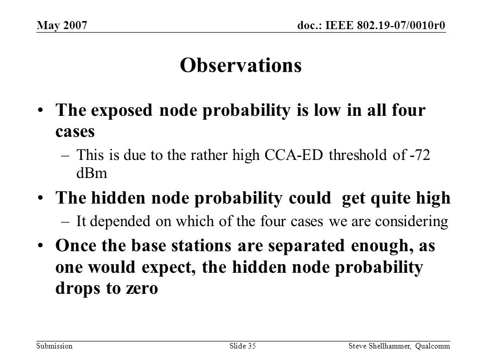 doc.: IEEE 802.19-07/0010r0 Submission May 2007 Steve Shellhammer, QualcommSlide 35 Observations The exposed node probability is low in all four cases –This is due to the rather high CCA-ED threshold of -72 dBm The hidden node probability could get quite high –It depended on which of the four cases we are considering Once the base stations are separated enough, as one would expect, the hidden node probability drops to zero