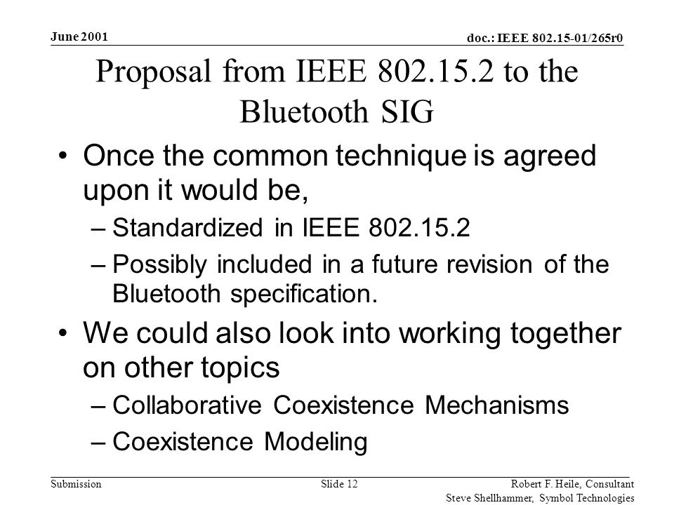 doc.: IEEE 802.15-01/265r0 Submission June 2001 Robert F. Heile, Consultant Steve Shellhammer, Symbol Technologies Slide 12 Proposal from IEEE 802.15.