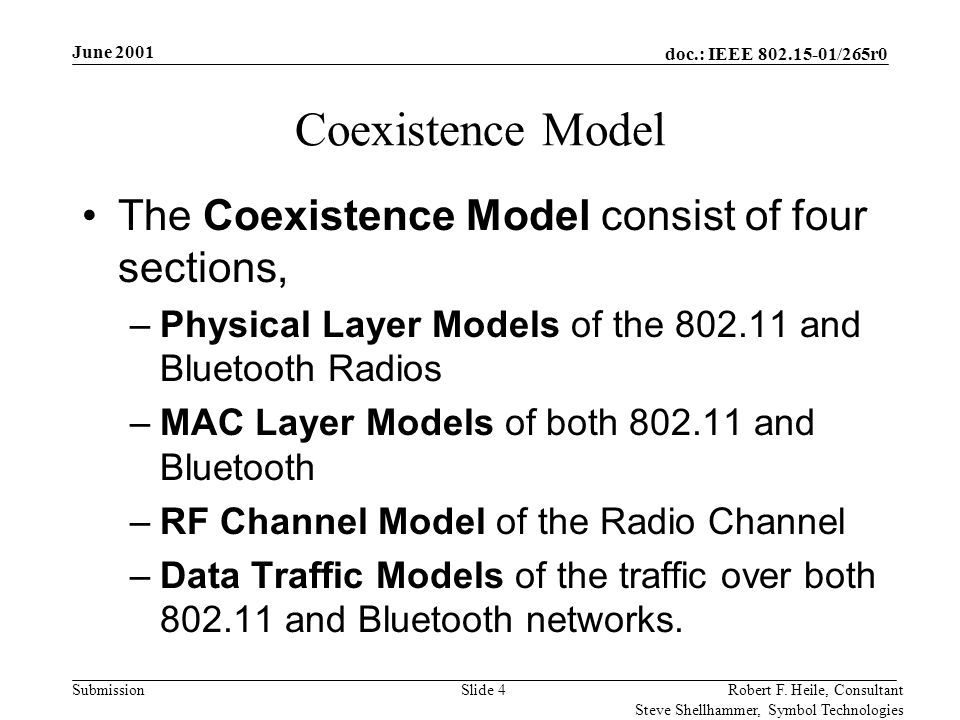 doc.: IEEE 802.15-01/265r0 Submission June 2001 Robert F. Heile, Consultant Steve Shellhammer, Symbol Technologies Slide 4 Coexistence Model The Coexi