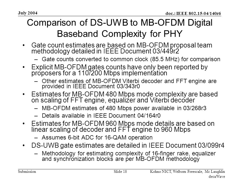 doc.: IEEE /140r6 Submission July 2004 Kohno NICT, Welborn Freescale, Mc Laughlin decaWave Slide 18 Comparison of DS-UWB to MB-OFDM Digital Baseband Complexity for PHY Gate count estimates are based on MB-OFDM proposal team methodology detailed in IEEE Document 03/449r2 –Gate counts converted to common clock (85.5 MHz) for comparison Explicit MB-OFDM gates counts have only been reported by proposers for a 110/200 Mbps implementation –Other estimates of MB-OFDM Viterbi decoder and FFT engine are provided in IEEE Document 03/343r0 Estimates for MB-OFDM 480 Mbps mode complexity are based on scaling of FFT engine, equalizer and Viterbi decoder –MB-OFDM estimates of 480 Mbps power available in 03/268r3 –Details available in IEEE Document 04/164r0 Estimates for MB-OFDM 960 Mbps mode details are based on linear scaling of decoder and FFT engine to 960 Mbps –Assumes 6-bit ADC for 16-QAM operation DS-UWB gate estimates are detailed in IEEE Document 03/099r4 –Methodology for estimating complexity of 16-finger rake, equalizer and synchronization blocks are per MB-OFDM methodology