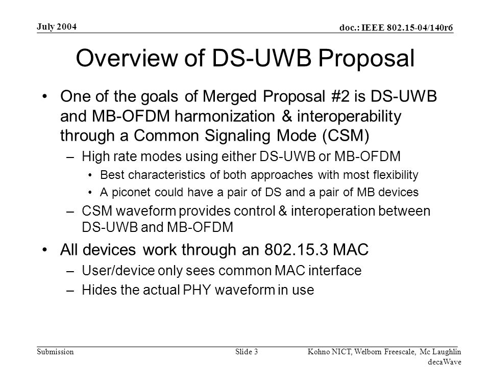 doc.: IEEE 802.15-04/140r6 Submission July 2004 Kohno NICT, Welborn Freescale, Mc Laughlin decaWave Slide 24 Received Power as a Function Of Node Separation Real World DS-UWB Measurements Demonstrate Unique Benefits of UWB Not on a 1/R 4 curve -- Small dips, no deep fades –= Very robust in highly cluttered environments –= Lower power and minimized potential for interference -30 -27 -24 -21 -18 -15 -12 -9 -6 -3 0 468101214161820222426 feet dB Measured DS-UWB
