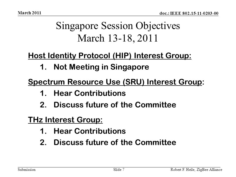 doc.: IEEE 802.15-11-0203-00 Submission March 2011 Robert F. Heile, ZigBee AllianceSlide 7 Singapore Session Objectives March 13-18, 2011 Host Identit