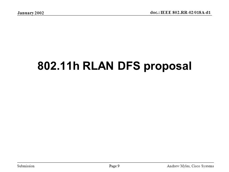 Submission Page 9 January 2002 doc.: IEEE 802.RR-02/018A-d1 Andrew Myles, Cisco Systems 802.11h RLAN DFS proposal
