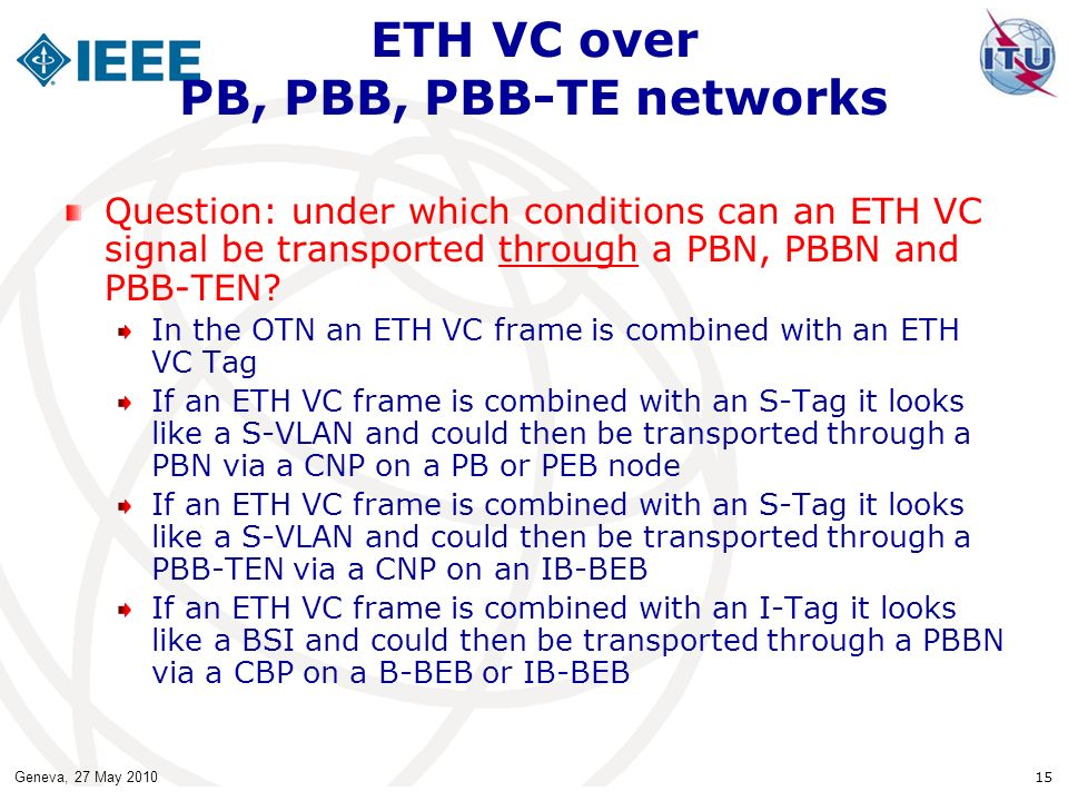 Geneva, 27 May 2010 15 ETH VC over PB, PBB, PBB-TE networks Question: under which conditions can an ETH VC signal be transported through a PBN, PBBN and PBB-TEN.