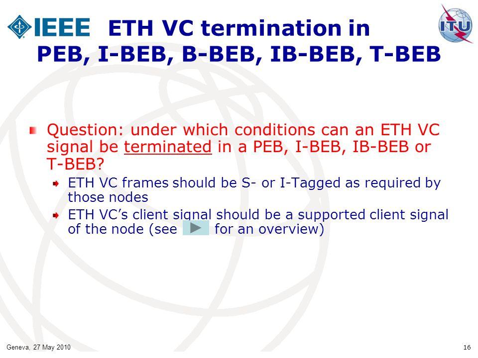 Geneva, 27 May 2010 16 ETH VC termination in PEB, I-BEB, B-BEB, IB-BEB, T-BEB Question: under which conditions can an ETH VC signal be terminated in a PEB, I-BEB, IB-BEB or T-BEB.