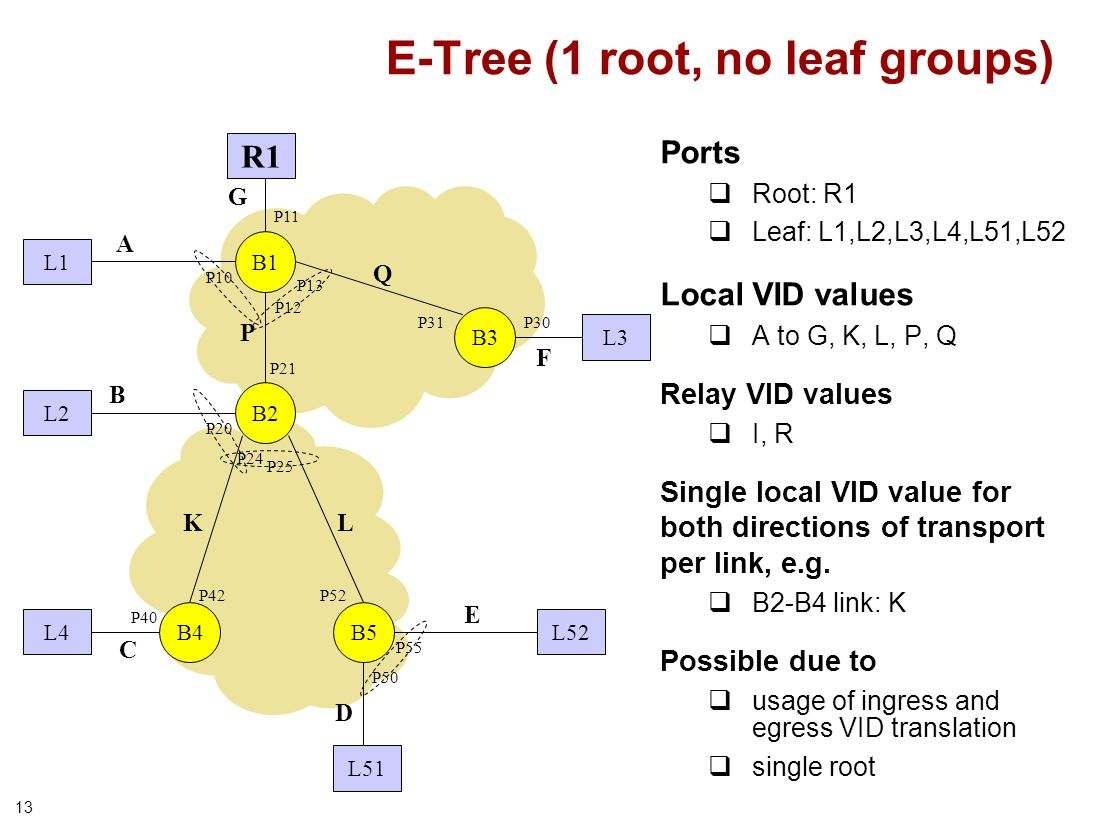 13 E-Tree (1 root, no leaf groups) Ports Root: R1 Leaf: L1,L2,L3,L4,L51,L52 Local VID values A to G, K, L, P, Q Relay VID values I, R Single local VID value for both directions of transport per link, e.g.