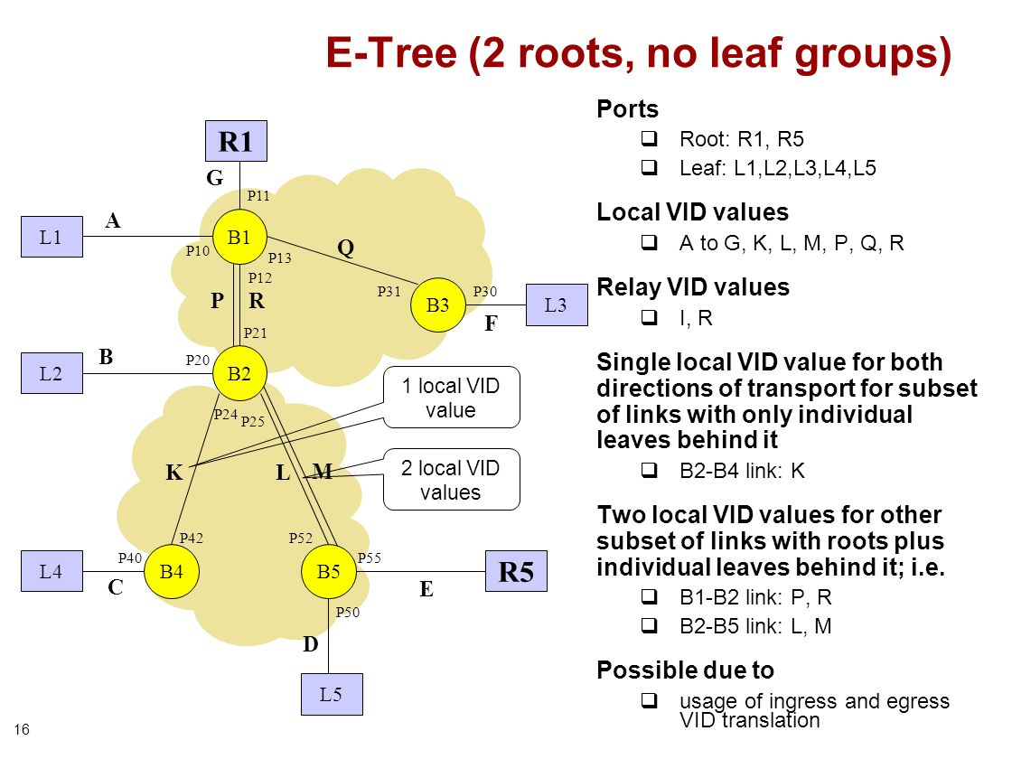 16 E-Tree (2 roots, no leaf groups) B1 B3 P21 P31 P13 P12 P10 P20 P30 L1 L2 L3 R5 R1 L5 P11 B4 P24 P25 P52P42 P50 P40 L4 P55 Q P L K A B C D E F G M R B2 B5 Ports Root: R1, R5 Leaf: L1,L2,L3,L4,L5 Local VID values A to G, K, L, M, P, Q, R Relay VID values I, R Single local VID value for both directions of transport for subset of links with only individual leaves behind it B2-B4 link: K Two local VID values for other subset of links with roots plus individual leaves behind it; i.e.