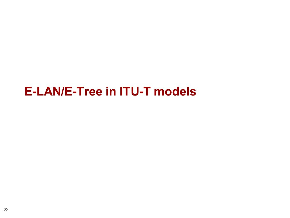 22 E-LAN/E-Tree in ITU-T models