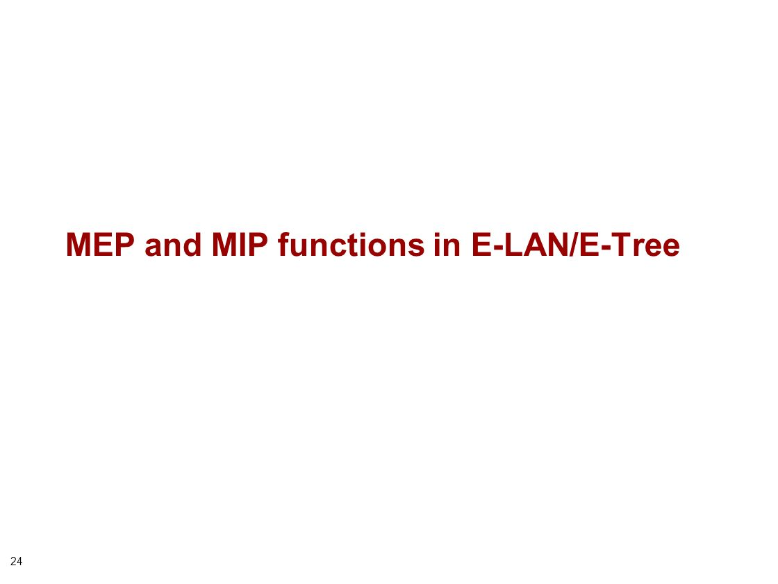 24 MEP and MIP functions in E-LAN/E-Tree