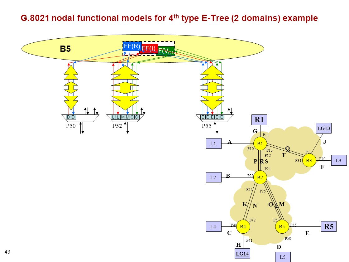 43 B5 FF(V G1 ) P50P52 D FF(I) EE P55 FF(R) ED G.8021 nodal functional models for 4 th type E-Tree (2 domains) example B1 B3 P21 P31 P13 P12 P10 P20 P