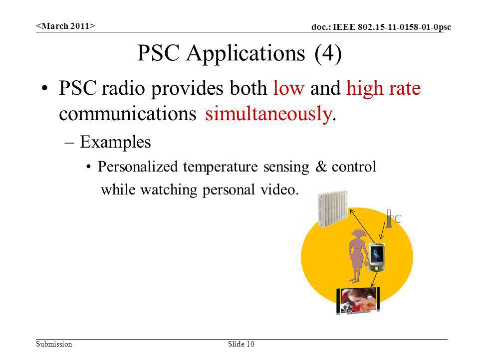 doc.: IEEE 802.15-11-0158-01-0psc Submission PSC Applications (4) PSC radio provides both low and high rate communications simultaneously. –Examples P
