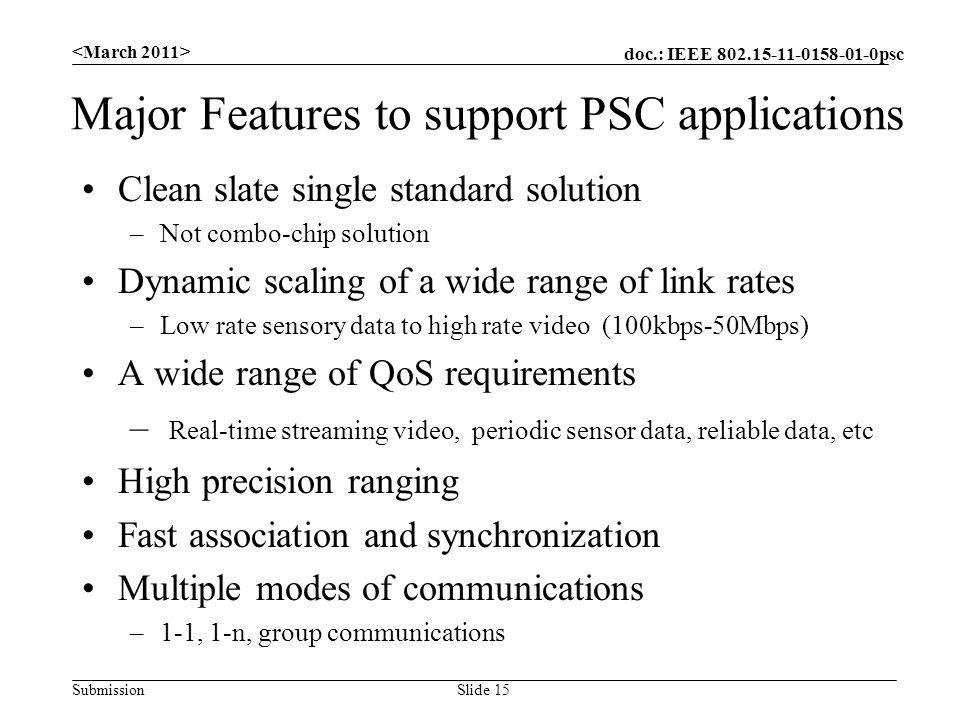 doc.: IEEE psc Submission Major Features to support PSC applications Clean slate single standard solution –Not combo-chip solution Dynamic scaling of a wide range of link rates –Low rate sensory data to high rate video (100kbps-50Mbps) A wide range of QoS requirements – Real-time streaming video, periodic sensor data, reliable data, etc High precision ranging Fast association and synchronization Multiple modes of communications –1-1, 1-n, group communications Slide 15