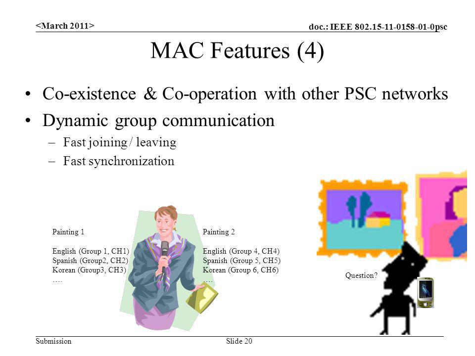 doc.: IEEE 802.15-11-0158-01-0psc Submission Co-existence & Co-operation with other PSC networks Dynamic group communication –Fast joining / leaving –Fast synchronization MAC Features (4) Slide 20 Painting 2 English (Group 4, CH4) Spanish (Group 5, CH5) Korean (Group 6, CH6) ….