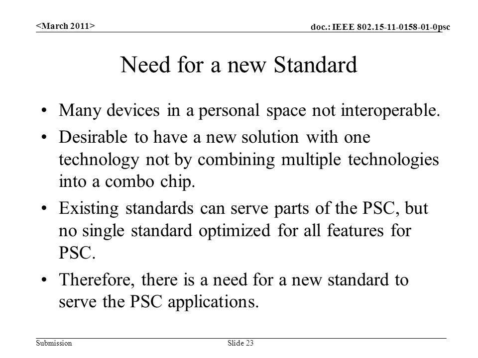 doc.: IEEE 802.15-11-0158-01-0psc Submission Need for a new Standard Many devices in a personal space not interoperable. Desirable to have a new solut