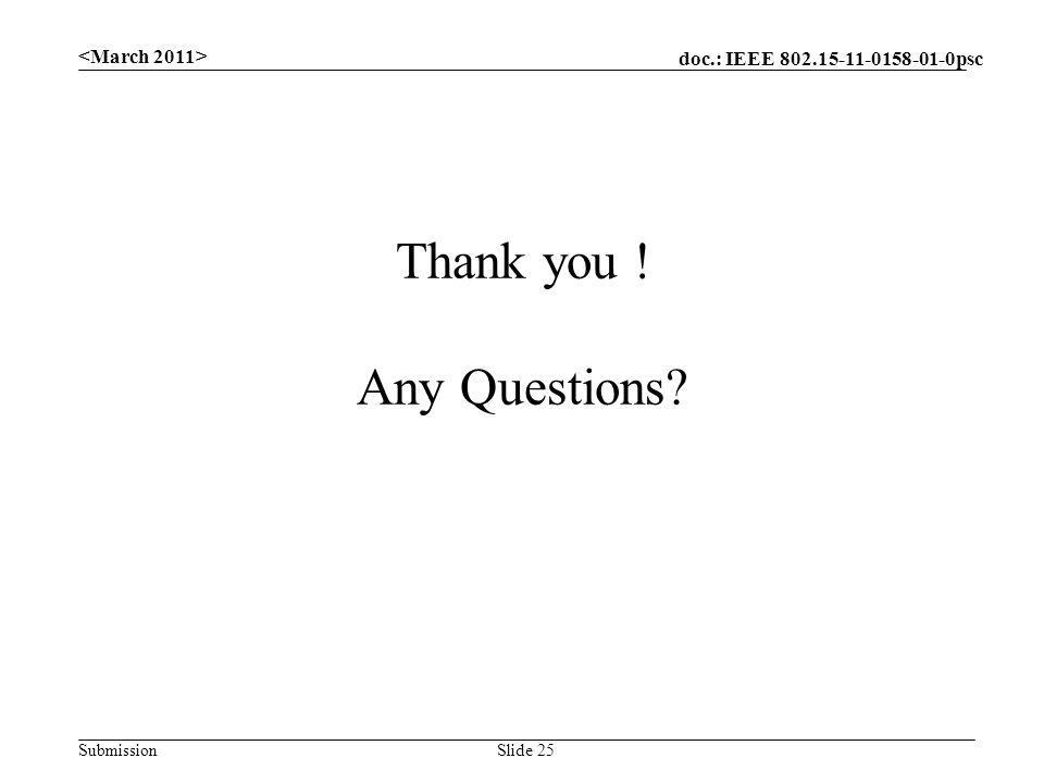 doc.: IEEE 802.15-11-0158-01-0psc Submission Slide 25 Thank you ! Any Questions