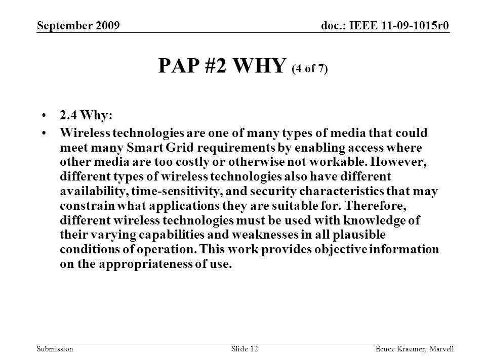 doc.: IEEE 11-09-1015r0 Submission September 2009 Bruce Kraemer, MarvellSlide 12 PAP #2 WHY (4 of 7) 2.4 Why: Wireless technologies are one of many ty